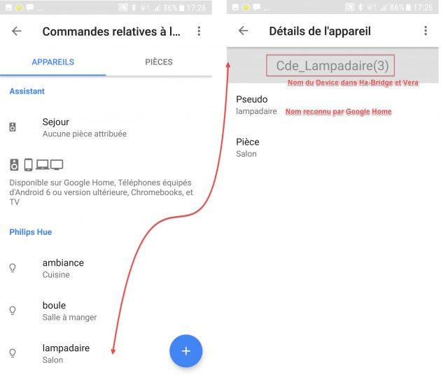 Google Home parametrage Devices